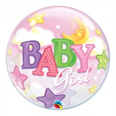 Baby Girl Moon And Stars Baby Shower Bubble 56cm 22inch