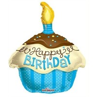 Happy Birthday blue Cupcake Shape Foil Balloon 45.7cm/18inch