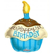 Happy Birthday blue Cupcake Shape Foil Balloon 45.7cm/18inch