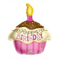 Happy Birthday Pink Cupcake Shape Foil Balloon 45.7cm/18inch