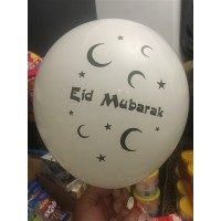 Eid Mubarak Latex Balloons - Pack of 6 White and Black