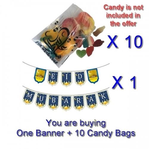 EID DEAL - EID MUBARAK BANNER and 10 Candy Bags