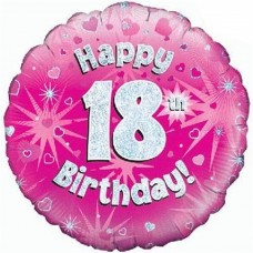 Happy 18th Birthday Pink Balloon 45cm / 18iInch