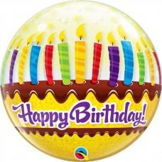 Happy Birthday Candles Bubble Balloon 56cm/22inch