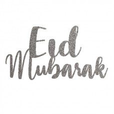 Silver Glitter Cake Topper - Eid Mubarak