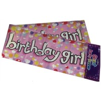 Giant Party Banner Girl - Happy Birthday 2.7m/9ft Long