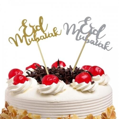 CupCake Toppers Eid Mubarak - Silver