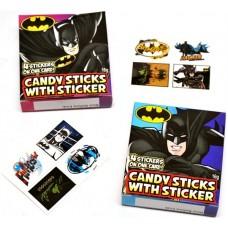 Candy Sticks With Sticker - Batman