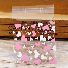 Candy Sealable Gift Bag - Pink and White Hearts Pattern-1 (Pack of 50).