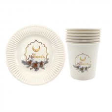 Eid Mubarak 7 inch Disposable Plate and Cup Set - Pack of six