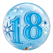 Number 18 Blue Starbust Sparkle Bubble Balloon 56cm / 22 Inch